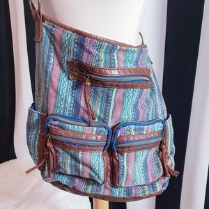 Handbags - Boho Bag Multi-Stripe with Leather Detail